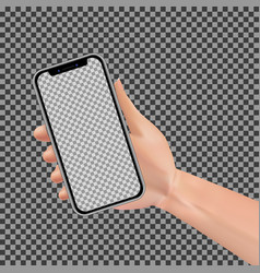 woman hand holding smartphone with empty vector image