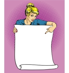 Woman holds blank white paper poster Pop art vector image