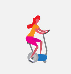 woman training exercise bike riding stationary vector image
