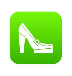 women shoes on platform icon digital green vector image