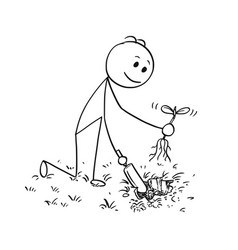 cartoon of gardener digging a hole for plant vector image