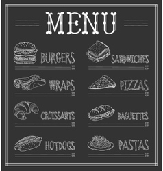 Chalkboard Menu Template vector image
