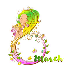 colored 8 march concept with beatiful woma vector image vector image