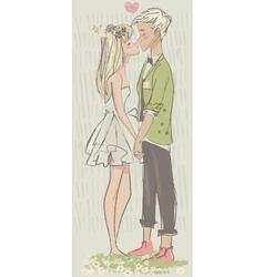Cute cartoon couple in love vector