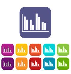 financial analysis chart icons set vector image vector image
