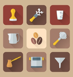 flat style coffee barista instruments icons set vector image