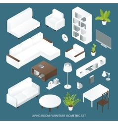Living Room Furniture Isometric Set vector image