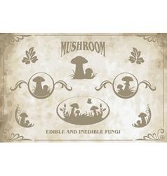 Mushroom silhouettes vector image
