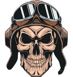 skull in helmet pilot vector image vector image