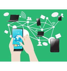 Social Media SmartPhone Tablet Notebook Internet vector image vector image
