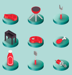 bbq color isometric icons vector image vector image