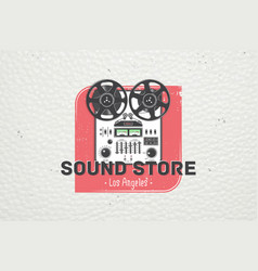 color sticker studio recording and music shop vector image vector image