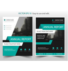 green abstract annual report brochure design vector image vector image