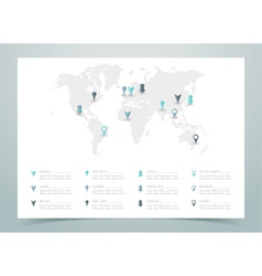 World Map Dotted With Markers vector image vector image