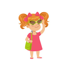 beautiful little girl wearing pink dress and vector image