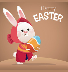 happy easter card cute girl bunny egg vector image