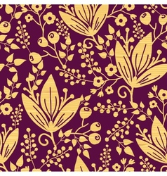 Purple wooden flowers seamless pattern background vector image vector image