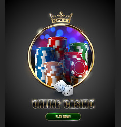 round casino roulette golden frame window with vector image
