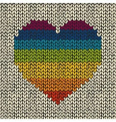 Seamless background with rainbow knitted heart vector image vector image