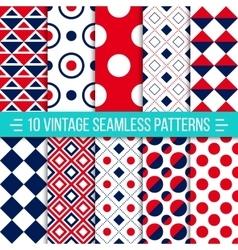 Seamless retro patterns set vector image vector image