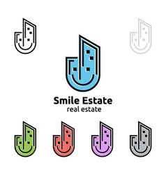 smile home represented real estate logo vector image vector image
