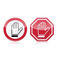 Stop warning road sign with hand vector image vector image