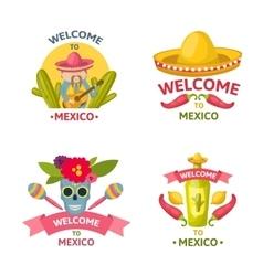 Mexican welcome emblem set vector