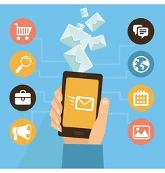 mobile app - email marketing and promotion vector image vector image