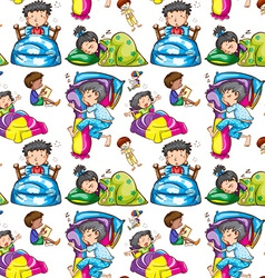 Seamless background of children in bed vector image