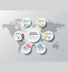 3d paper infographic elements for six options vector image