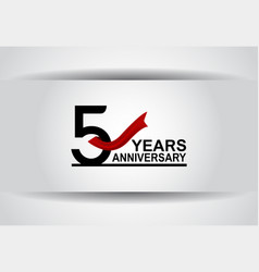 5 years anniversary design with red ribbon vector