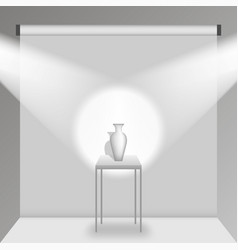 a table with a vase in a white photo studio vector image