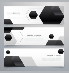 Abstract hexagonal black header banners background vector