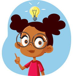 African female student having a clever idea vector