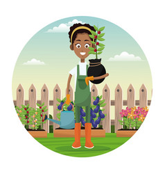 african woman farmer plant and water can garden vector image