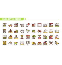 agriculture linear color icons set vector image