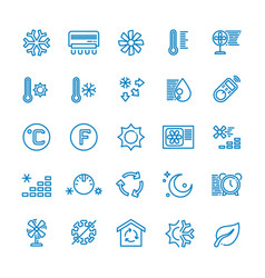 Air conditioning line icons temperature vector