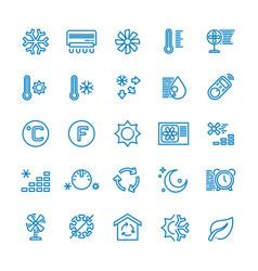 Air conditioning line icons temperature vector