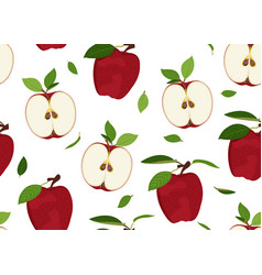 Apple seamless pattern and slice with leaves on a vector