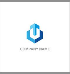 arrow sign progress business company logo vector image