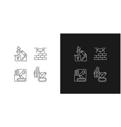 Automation in different industries linear icons vector