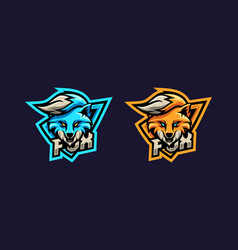 Awesome fox logo with two option color vector