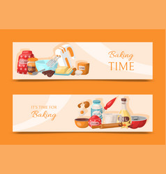 baking time set of banners kitchen utensils vector image