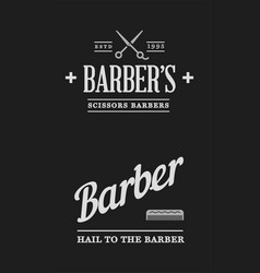 barbershop set labels or emblems vector image