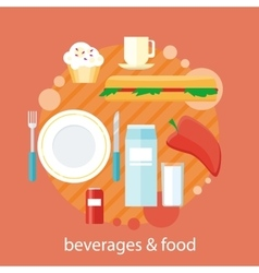 Beverages and Food Design Flat vector