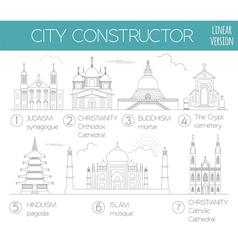 Big set City generator House constructor Religious vector