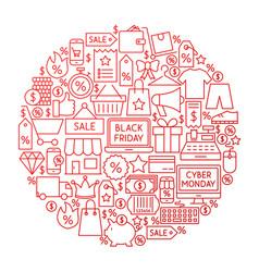 black friday line circle design vector image