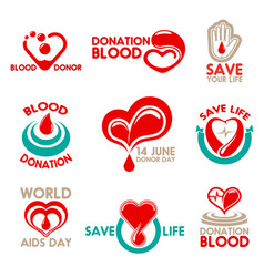 Blood donation icons for transfusion laboratory vector