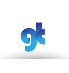 blue gradient gt g t alphabet letter logo vector image