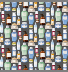 Bottles of cosmetic cosmetology lotion makeup vector